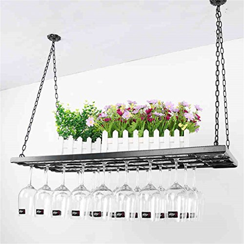 JIA JIA HOME- Kreative Metallkette Hängende Weinglas Halter Schwarz Decke Weinflasche Gläser Tassen Rack Becher Stemware Racks Retro Bar Dekoration Display Regal - L60 / 80/100 * W31cm ( größe : L80*31cm ) (Paletten-weinregal, Wand-montiert)