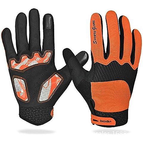 bazar chino Pantallas táctiles en primavera y verano equitación guantes de bicicleta al aire libre para los hombres y las mujeres largo y peluche cálido y antideslizante , orange ,