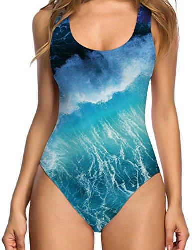 Uideazone Teenager Mädchen Monokini Einteiler 3D Printed Badeanzug 36 (Monokini Kinder)