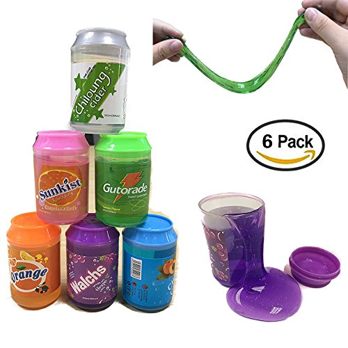 Crystal slime, magic clear slime putty clay, morbido profumato sollievo dallo stress sludge diy toy per bambini adulto, 6-pack-12oz