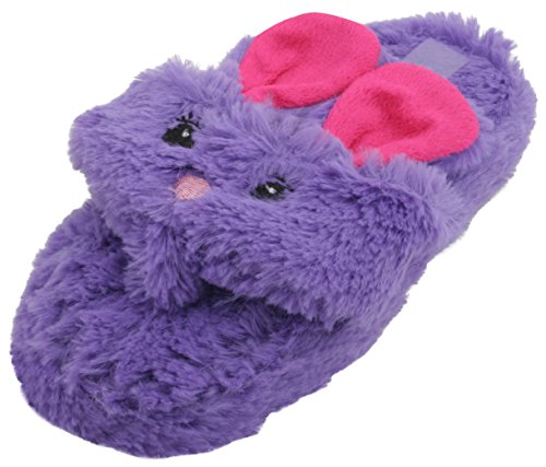 4Kidz Girls Open Toe Rabbit Mule Slipper Purple 12 Child UK