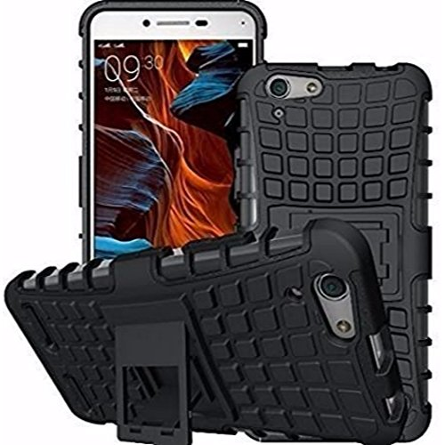 Avzax Dual Layer High Protection Kick Stand Armor Hybrid Bumper Back Case Cover For Oppo Neo 7 - (Black)