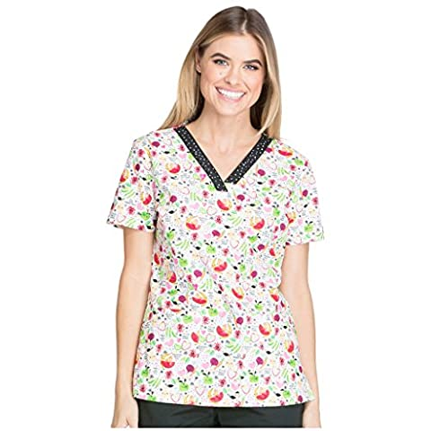 Dickies Womens EDS Pediatric Print V-neck Scrub Top Nuts About Nutrition X-Large