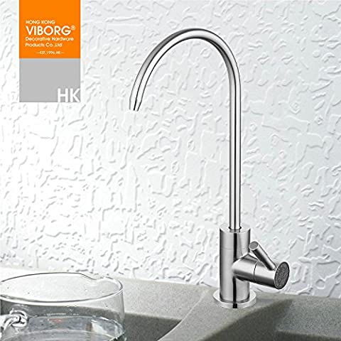 Viborg Deluxe Top Quality Sus304 Stainless Steel Lead-free Kitchen Drinking Water Filter Faucet Filtration System Purifier Faucet Tap for Filtered Water, Satin Nickel Brushed (Spout A) by VIBORG