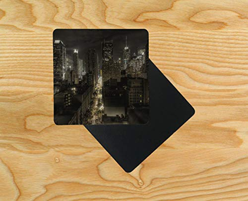 New York 57th Wooden Table Drink Coaster 10cm x 10cm (Pack of 2)