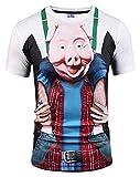 Pizoff Homme Garçon T-Shirt à Manches Courtes en Belle Impression Coloré Motif Cartoon Cochon pour Le Cosplay et Halloween Noël AG003-4- HommeM