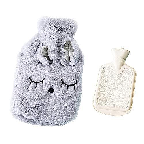 Drizzle Wärmflasche Mit Super Weichem Luxuriösem Plüsch-Bezug Tier-Serie 100% Naturkautschuk (Mimi gray)