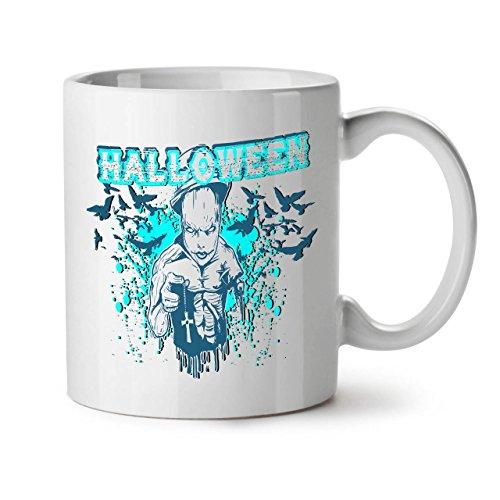Wellcoda Halloween Grusel Kult Keramiktasse, Unheimlich - 11 oz Tasse - Großer, Easy-Grip-Griff, Zwei-seitiger Druck, Ideal für Kaffee- und Teetrinker