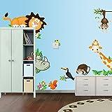 Adesivo da parete  Gufo, Giraffa, Leone e scimmia sull'albero, poster da parete, vinile, rimovibile, decorazione per cameretta per bambini verde