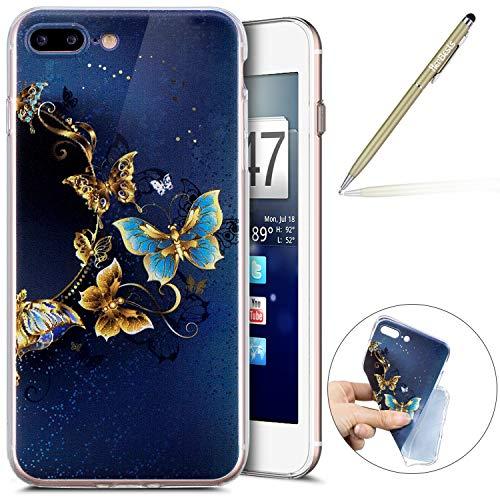 Herbests Handy Tasche für iPhone 8 Plus/iPhone 7 Plus Silikon Hülle Durchsichtige Schutzhülle Crystal Clear Transparent Ultra Dünn Handyhülle Silikonhülle Kristall Klar TPU Bumper,Gold Schmetterling