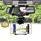#3: ICEBERG MAKERS.IN Universal 360 Degree Rotation Car Rearview Mirror Mount Holder Stand Cradle for All Mobile Cell Phone GPS