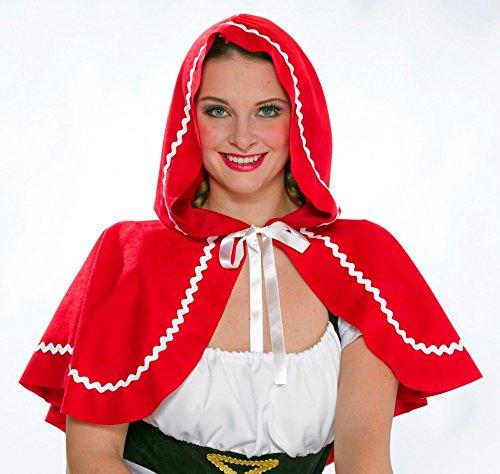 fasching rotkaeppchen Rotkäppchen Umhang schulterlang rot Damen Kostüm Zubehör Karneval Fasching