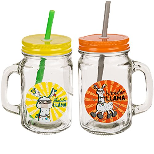 Bada Bing 2er Set Trinkgläser LAMA COMIC mit Henkel und Deckel Strohhalm Trend Garten Sommer 12