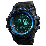 Reloj Deportivo Digital para Hombre con brújula y podómetro, altímetro, barómetro, Militar, Resistente al Agua, con Correa de Piel