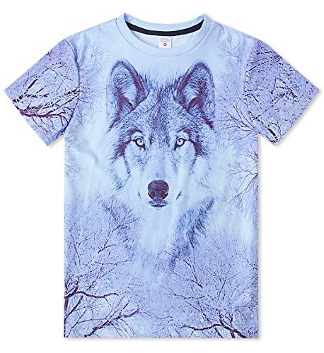 Idgreatim Teens Ice Wolf T-Shirts Jungen Mädchen Sommer Grafik Pullover T-Shirt Kurzarm 10T (Teen Wolf T-shirts)