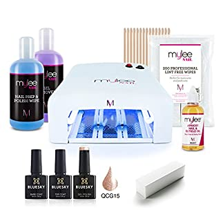 MYLEE 10PC KIT UV 36W Nail Curing Lamp w/BLUESKY Top & Base Coat, Mylee Prep & Wipe + Gel Remover, 1x Gel Polish Colour, Lint-Free Wipes & More, Manicure Starter Set (QCG15 - Rose Gold)