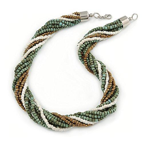 Armband mit Glas Bead Twisted Halskette mit Silber Ton Schließung (Dusty Blau, bronze, weiß)-48cm L