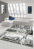 Tappeto Designer zona Tappeto moderno tappeto New York design grigio Cream Nero Größe 160x230 cm