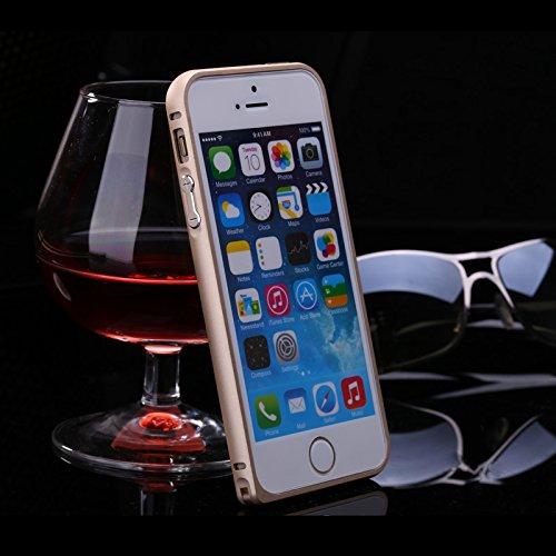 FindaGift iPhone SE 5SE 5 5S Frame Hülle, Leicht Hart Metall Hippocampal Schnalle Frame Case Anti-Kratzer Seitenschutz Bumper Cover für iPhone SE 5SE 5 5S Frame Schwarz Golden