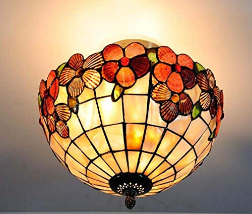 Tiffany-Stil Deckenleuchte Lampe Semi Flush Mount, 12 Zoll reichen Blumenmuster Farbe Shell Shade Deckenleuchte für Dinner Room 2 Birne Mount Light Mission Anhänger hängen (2 Anhänger Insel Leichte Küche)