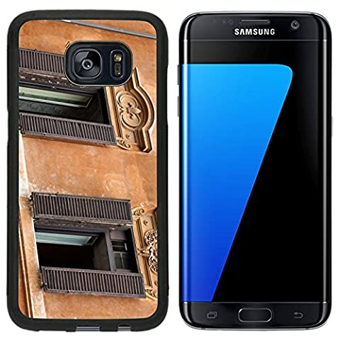 MSD Premium Samsung Galaxy S7 Edge Aluminum Backplate Bumper Snap Case Old windows at Spanish Steps in Rome IMAGE 20181569