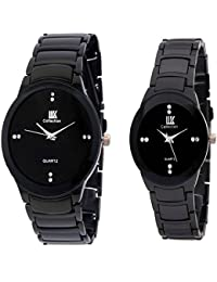 ROKCY Pair R-shape Watch Full Black Pair Watch Analog Watch - For Couple Watch - For Boys & Girls