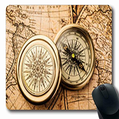 Luancrop Mousepads Gebrannter Alter Kompass auf Erdweinlese-Karten-Retro Wissenschaft navigieren längliches Spiel Mousepad rutschfeste Gummimatte
