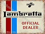 Lambretta Scooter Official Dealer. Innocenti. Logo on white, red and blue. Milan Italy. Old retro vintage for house, home, bar, garage, pub or shop. Small Metal/Steel Wall Sign