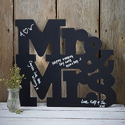 Vintage Affair - Mr And Mrs Chalkboard Wooden Guest Book Alternative