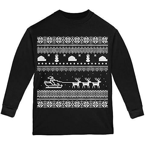 Slitta Babbo Natale brutto maglione nero gioventù manica lunga t-shirt