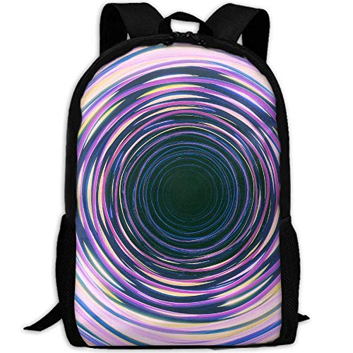 TRFashion Circles Neon Waves Colorful Unisex Unique Backpack School Casual Sports Book Bags Durable Oxford College Laptop Computer Shoulder Bags Lightweight Travel Daypacks Rucksack - Neon Wave