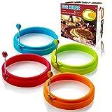 moule à oeuf rond silicone - pancake moule. boîte de 4 moules ronds à oeufs anti-adhésifs