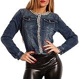 Young-Fashion Damen Jeansjacke Strass & Perlen Jeans Jacket Blouson, Farbe:Jeansblau, Größe:XL /42