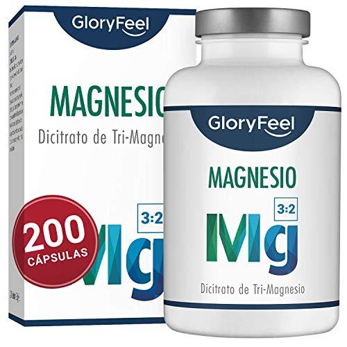 GloryFeel Magnesio - 200 cápsulas con el mejor citrato de magnesio