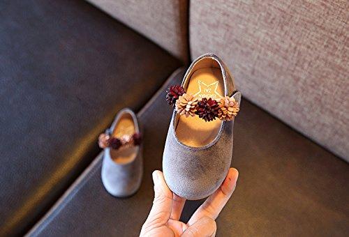 Eozy Mädchen Prinzessin Schuhe Blume Schuhe Ballettschuh Ballerina Grau