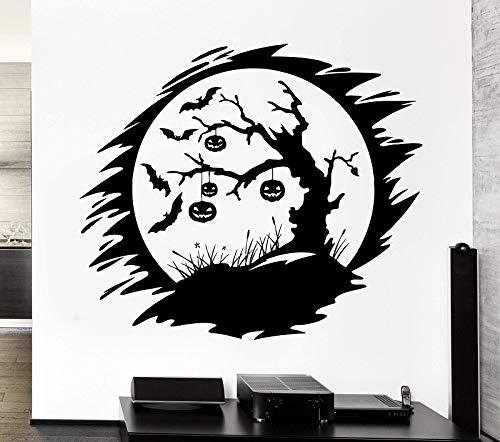 yiyiyaya Wandtattoo Dark Night Bat Kürbis Halloween Tree Vinyl Applique Halloween UrlaubWandaufkleber Wohnkultur 66 * 57 cm