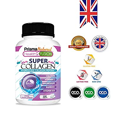 SUPER COLLAGEN - Hydrolysed Marine Collagen PEPTAN + Bamboo + Magnesium + Calcium + Vitamins C and D3 for good health and care of joints, muscles and bones – Highly absorbable Collagen PEPTAN and Bamboo to avoid pain and repair tissues – 180 tablets