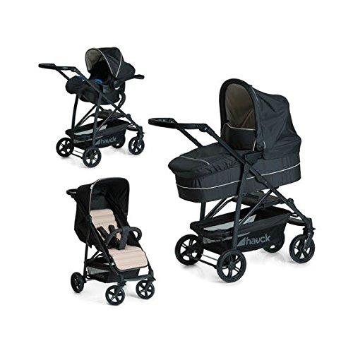 Hauck Rapid 4 Plus Trio Set - Coche de bebes 3 piezas de capazo, sillita y Grupo 0+ para recién nacidos hasta bebes/niños de 15 kg, respaldo reclinable, plegable, color negro y beige
