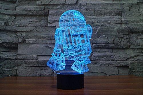 SmartEra® Star War Astromechdroiden R2-D2 3D optische Illusion Mehrfarbig ändern Berühren Sie Botton Schreibtischlampe Tischleuchte