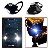 Kinderwagenlicht 7 LED Weiß Wasserdicht Qualitätsarbeit Schwarz Silikon Doppelpack (2 Stück ohne Batterien) Kinderwagen Licht Fahrradlampe von Top Idee