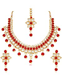 Apara Stunning Red And White Kundan Wedding Necklace Set With Maang Tikka For Women/Girls