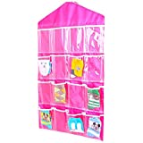 Sellus New Arrival Hanging Wall Pocket Storage Bag Candy Color Transparent Underwear Socks Slippers 16 Pocket Wardrobe Mount Bag Hanging Wall Pocket Storage Case, Transparent Foldable Closet Organizer, Space Saving Holder, Washable, Easy To Clean, Conveni
