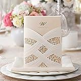 vstoy Laser geschnitten Pocket Hochzeit Einladungen Karten weiß 20Stück Elegantes Set für Ehe Verlobungsring Hohl Floral mit Umschlägen Dichtungen Partyzubehör