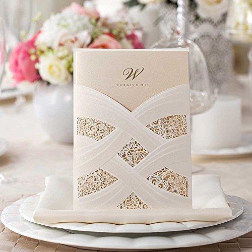 Vstoy - biglietti per inviti di nozze con tasca tagliata a laser, bianchi, 20pezzi, set elegante per fidanzamento e matrimonio, disegno floreale, con eleganti sigilli per buste, bomboniere