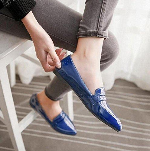 SHINIK Sandales pour dames Bottes à boutons fermés Bracelet à la cheville pointue Chaussures plates lacées Chaussures de cour Blue