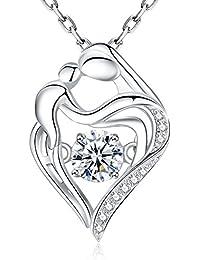 bc2af95a08 Fanze Dame 925 Sterling Silber Cubic Zirkon Herz zu Herz