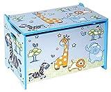 Bieco 74088397 Spielzeugtruhe und Sitzbank in einem Truhe zur Aufbewahrung von Spielzeug mit Motiv Dschungel, blau