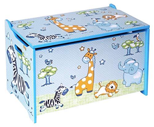 Bieco 74088397 Spielzeugtruhe Jungle, Truhe zur Aufbewahrung von Spielzeug mit Dschungel Motiv, blau