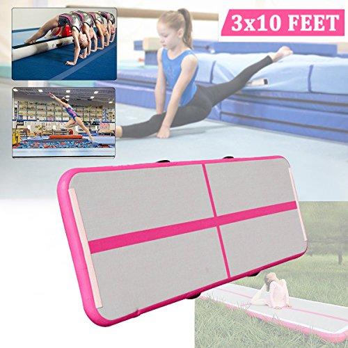 Air Track Tumbling Matte, aufblasbare Air Track Gymnastikmatte Gym für Gymnastik, Air Bodenschutzmatte für Zuhause, Picknick, Training, Cheerleading (3Ft breit x 10ft Lang x 4in Dick) Pink + Weiß