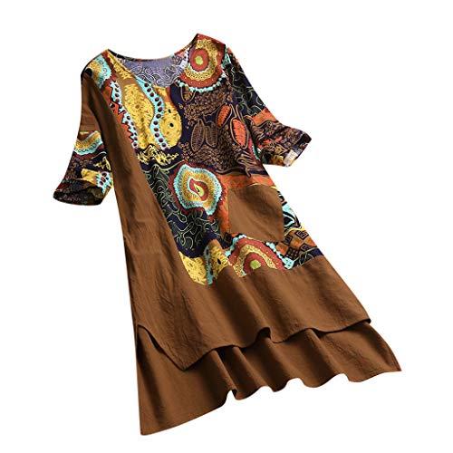 kolila Damen Boho Bedruckte Patchwork Kleider Lose High Low Hem Halbarm Lässige Kleidung Tunika mit Tasche(Khaki,XL) -
